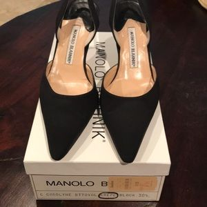 Manolo Blahnik Black Satin Sling Backs w/Box